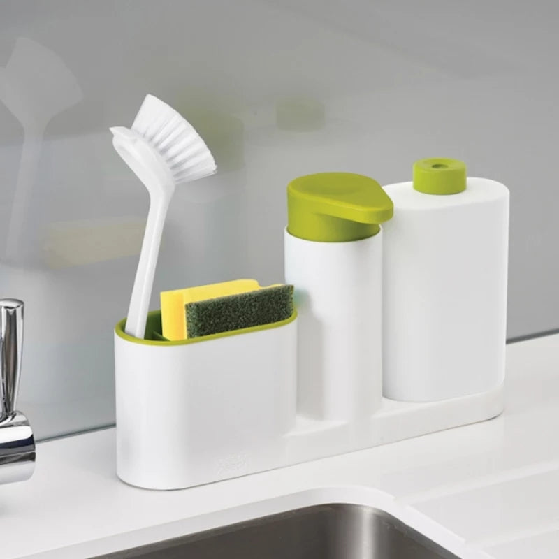 New Multifunction Kitchen Bathroom Liquid Detergent Storage Box With Brush Stand Rack Cleaning Sponge Drainboard Soap Holder - ShopnHob (3622025789520)