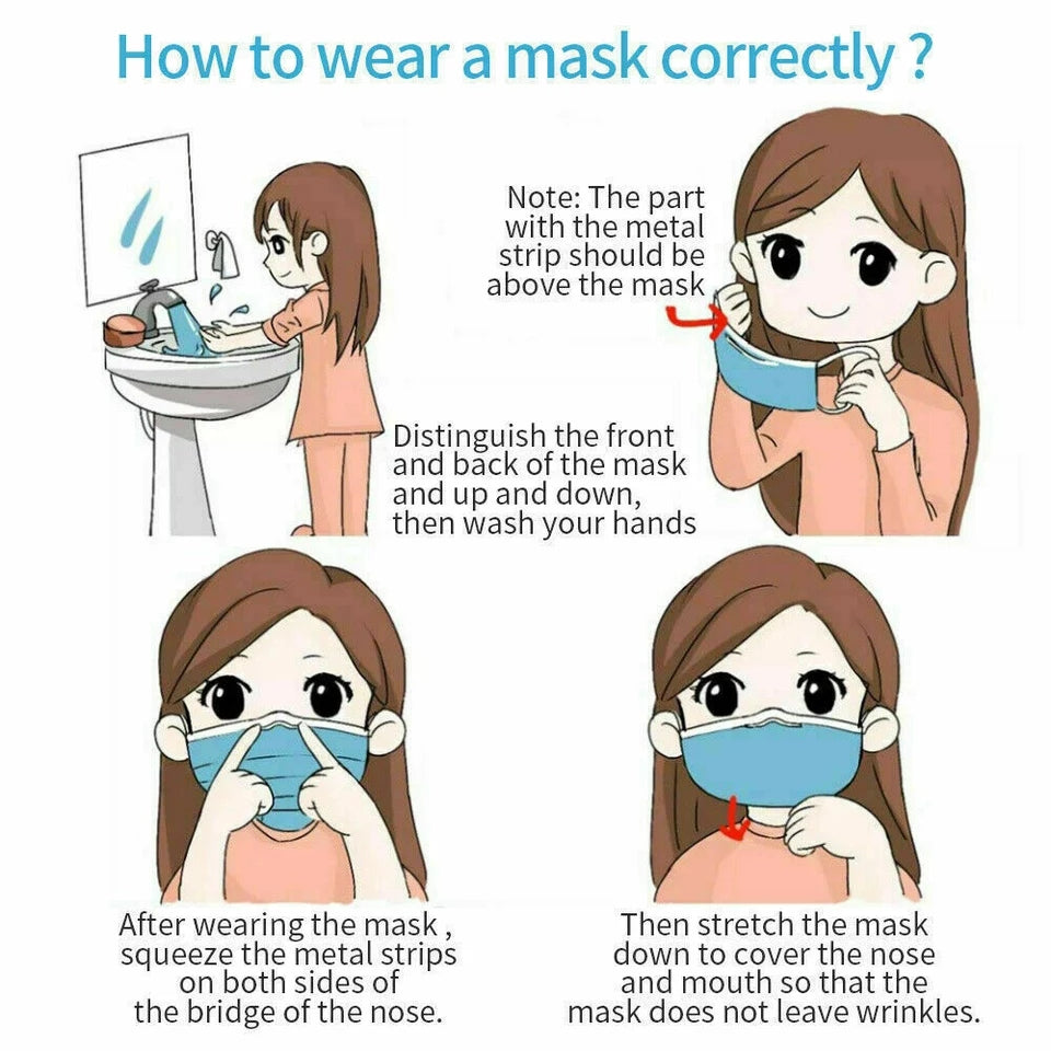 25 pcs Mouth Mask Face Safety Mouth Masks 3 Layer Disposable Anti-Dust Earloops Facemasks