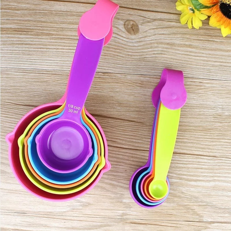 10PC Set Plastic Colorful Measuring Spoons Sugar Cake Kitchen Accessories Cooking Baking