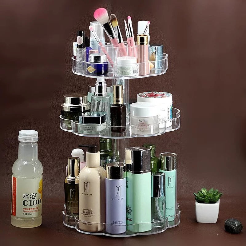 360 Degree Rotating Makeup Organizer Plastic Storage Shelf Cosmetic Desk Storage Rack - ShopnHob (3580171976784)