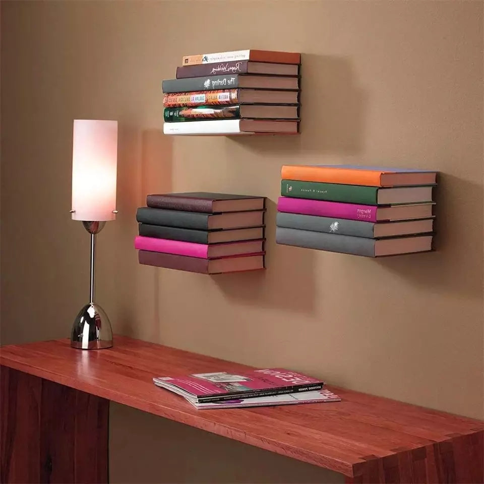 Simple Suspension Metal Wall Shelf Fashion Invisible Storage Rack For Storing And Displaying Books Decorates Organizer Holder