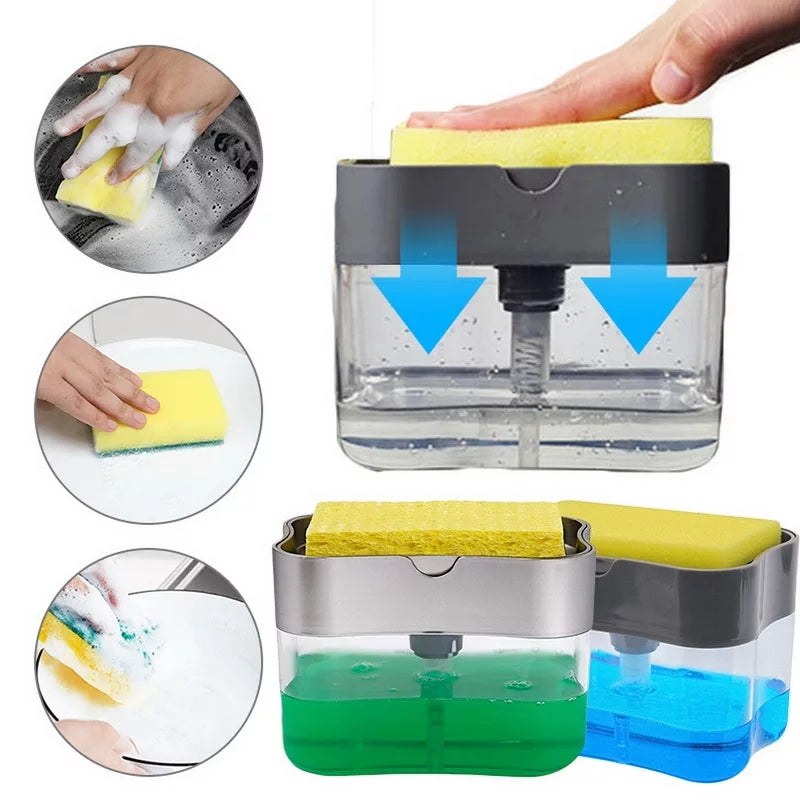 2-in-1 Soap Pump Dispenser With Sponge Holder Liquid Dispenser Container Hand Press Soap Organizer Kitchen Cleaner Tools