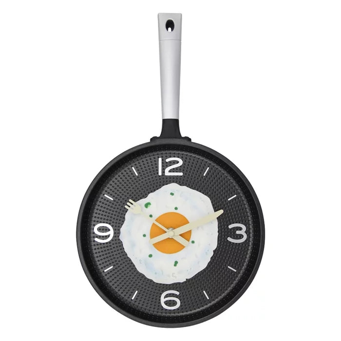 Flat Bottom Pot Omelettes Clock Bar Decoration Personality Pocket Watch Wall Clock 43x25cm