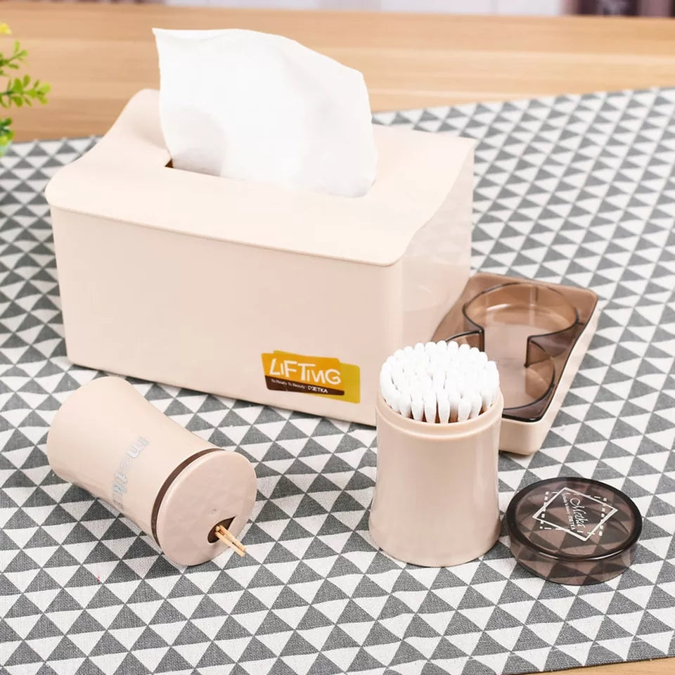 1PC Creative tissue box European home dining room living room tray with cotton swab box toothpick box three-in-one set