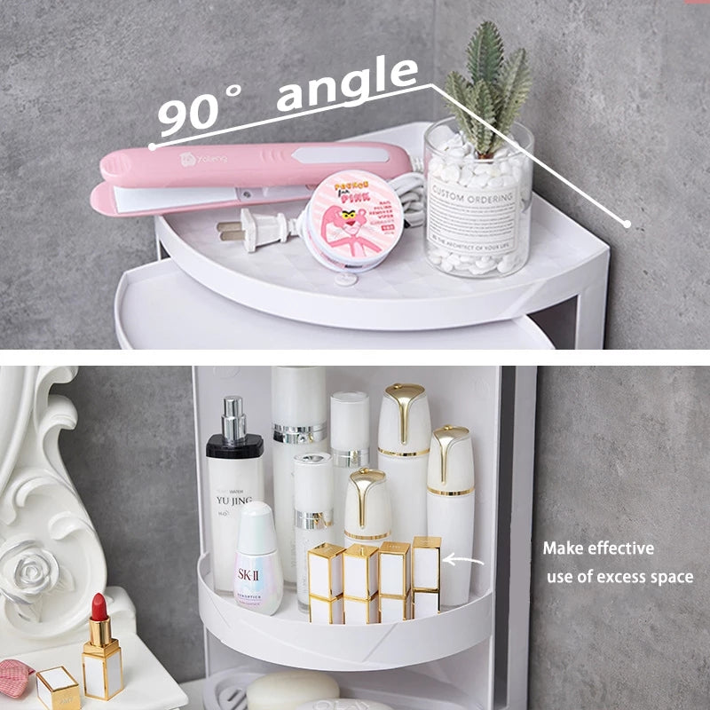 Bathroom tripod rotating plastic kitchen storage  Organizer rack bathroom skin care products finishing rack