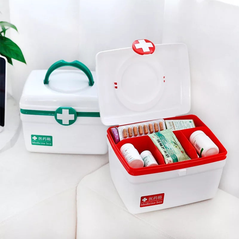 Portable Medicine Box First Aid Kit Box First Aid Kit Drug Storage Case Large-capacity Pill Box Double-layer Suitcase Organizer - ShopnHob