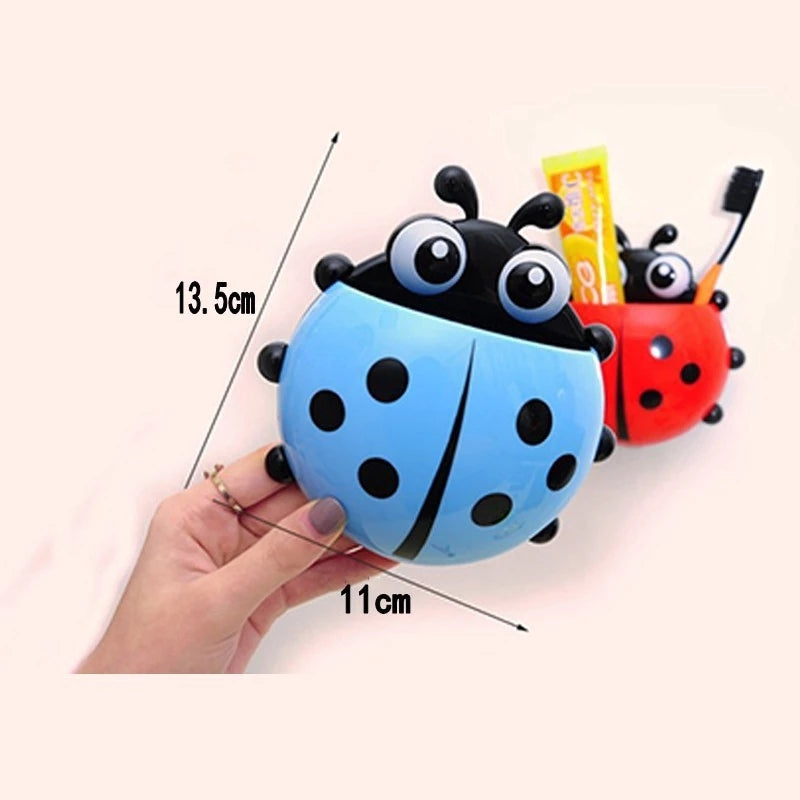 Ladybug Toothbrush Holder Toothpaste Box with Suction Cup Storage Racks Bathroom Shelves Sucker Containers Bathroom Accessories
