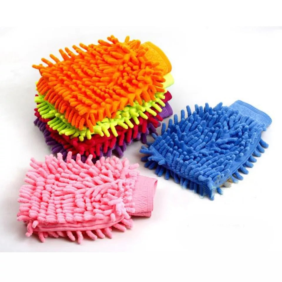 1pc Wash Microfiber Gloves Water Absorption  Hand Towel Microfiber cleaning Sponge Towel Coral Chenille Soft