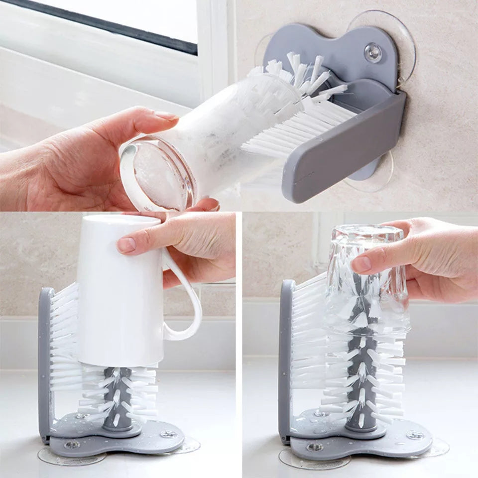 Cup Pot Glass Cleaning Brush Suction Cup Basin Sink Wall Mount Tea Gla –  ShopnHob - Home Decor Store In Pakistan