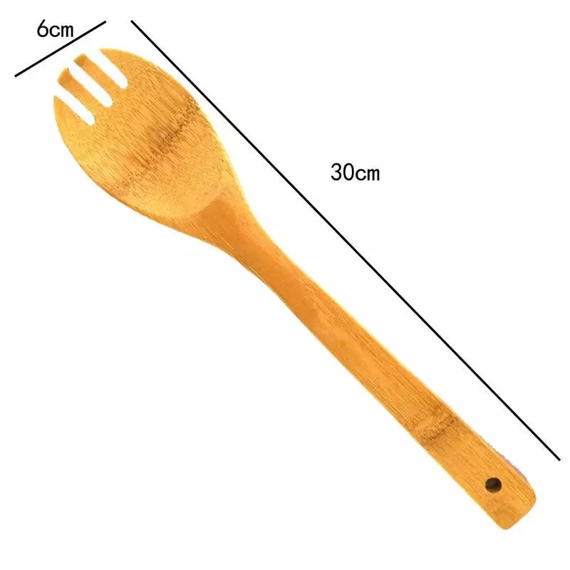 8pcs Shovel Set Kitchen Accessories Cooking Tools Bamboo Shovel Soup Fork Set Open Spoon Spoon Oblique Colander Kitchenware