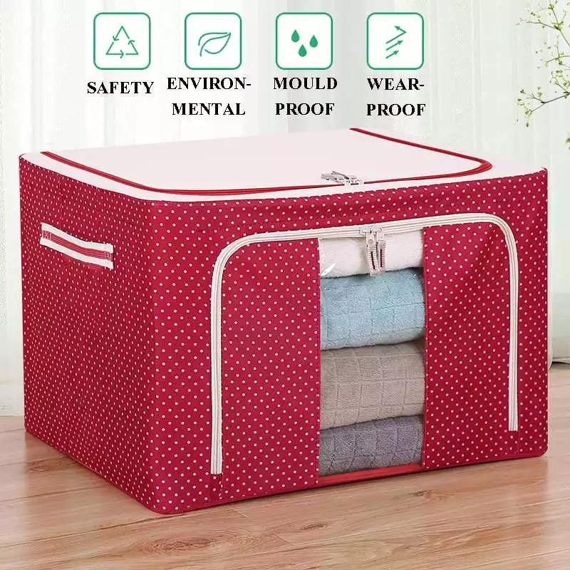 55 L Big size Foldable Cloth Storage Box High Capacity Waterproof Moistureproo Oxford cloth Steel Organizer Bag for Clothing Blanket quilt Toy