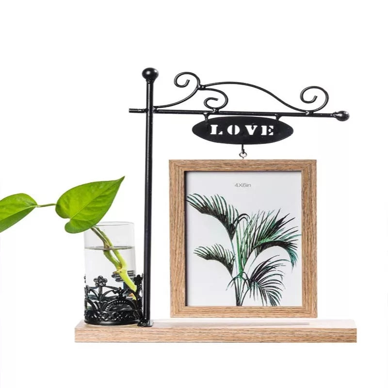 Love Photo Frame Set Simple Wooden Creative 6 Inch Wrought Iron Ornaments Frame - ShopnHob (3617276067920)