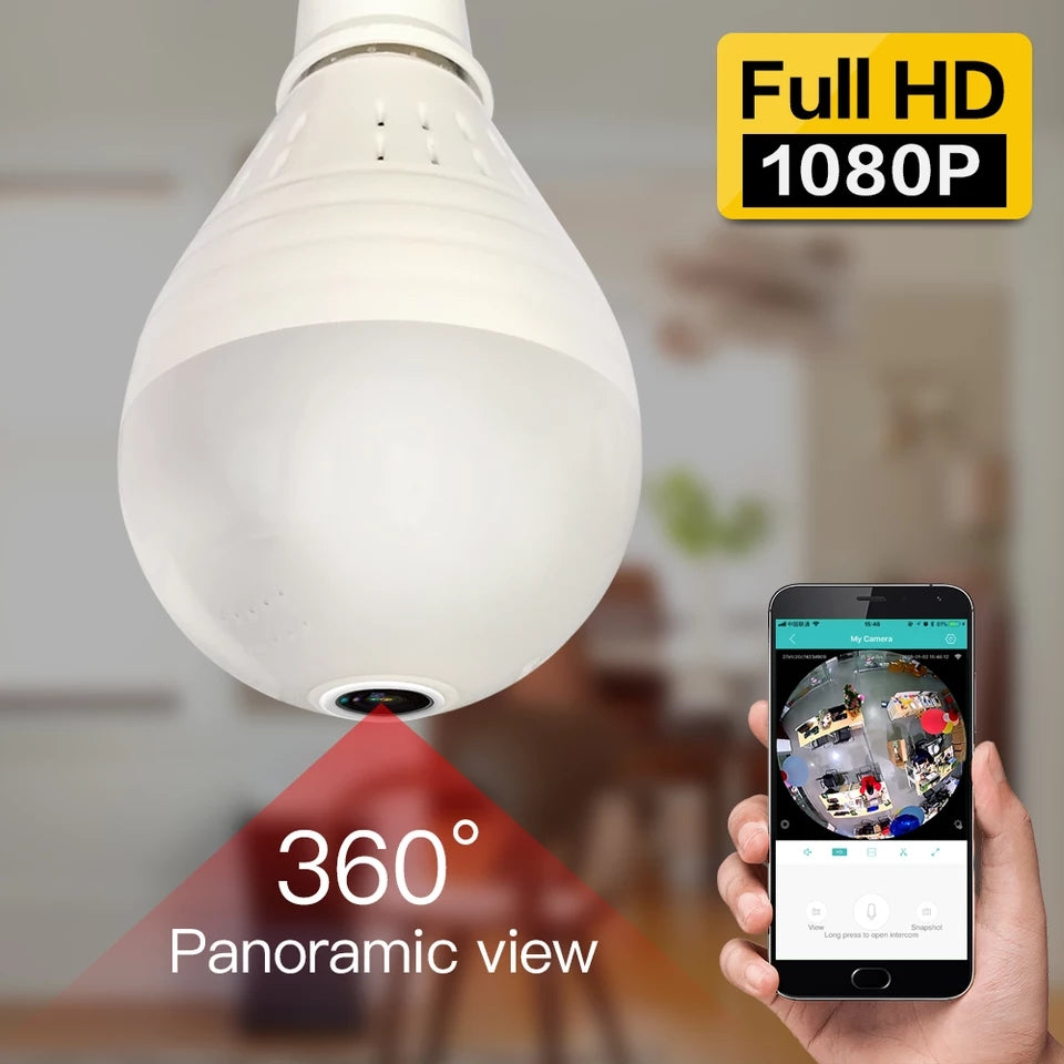 Bulb Lamp Wifi IP Camera 960P Home Security Wireless Camera  Panoramic FishEye  Support 128GB 360 Degree Night Vision