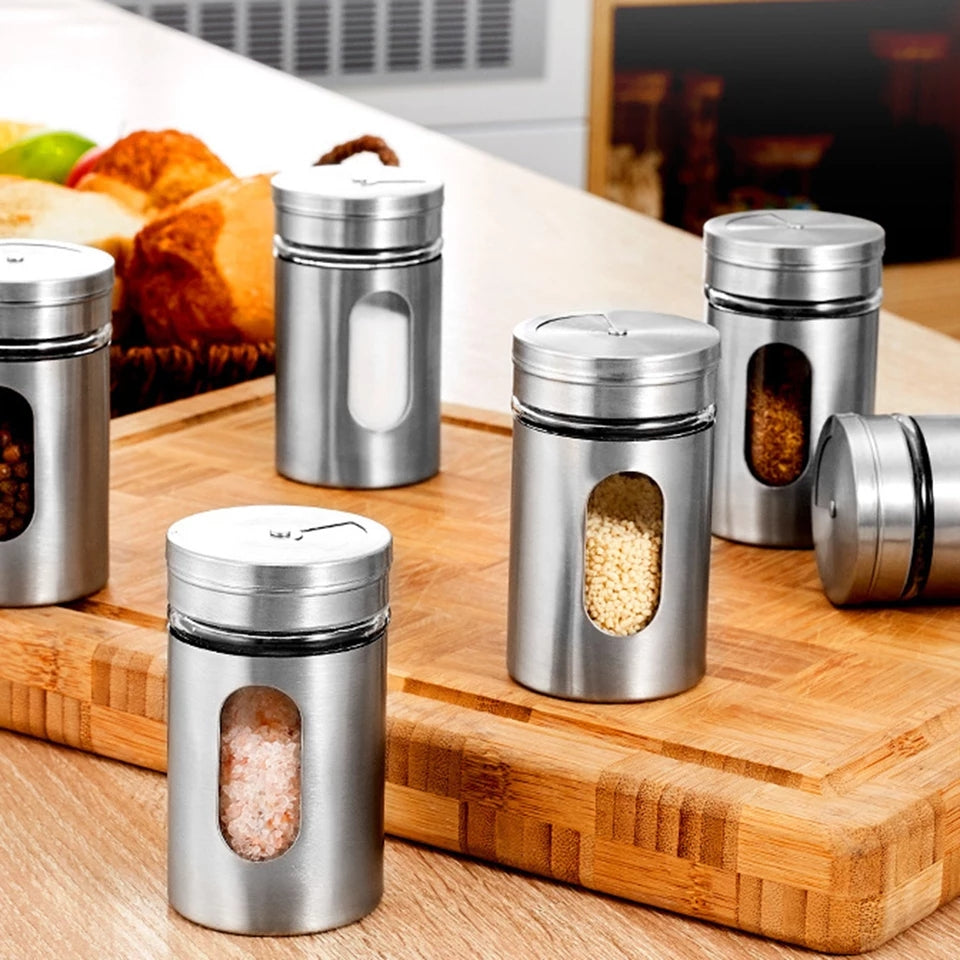 6 Pcs Spice Jar Stainless Steel Glass Pepper Shaker Bottle Seasoning Condiment Seal Storage Bottles Cooking Kitchen Tools 82*50mm