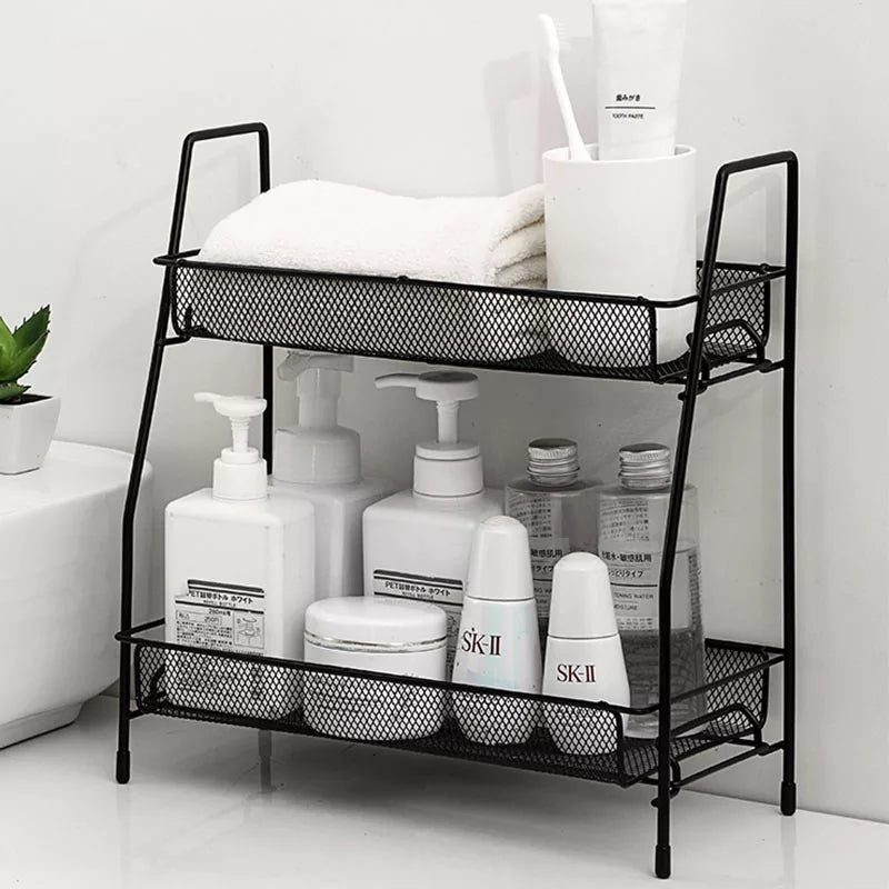 Double Layer Iron Net Rack Kitchen Organizer Bathroom Shelf Multifunctional School Office Nordic Style Creative Minimalist