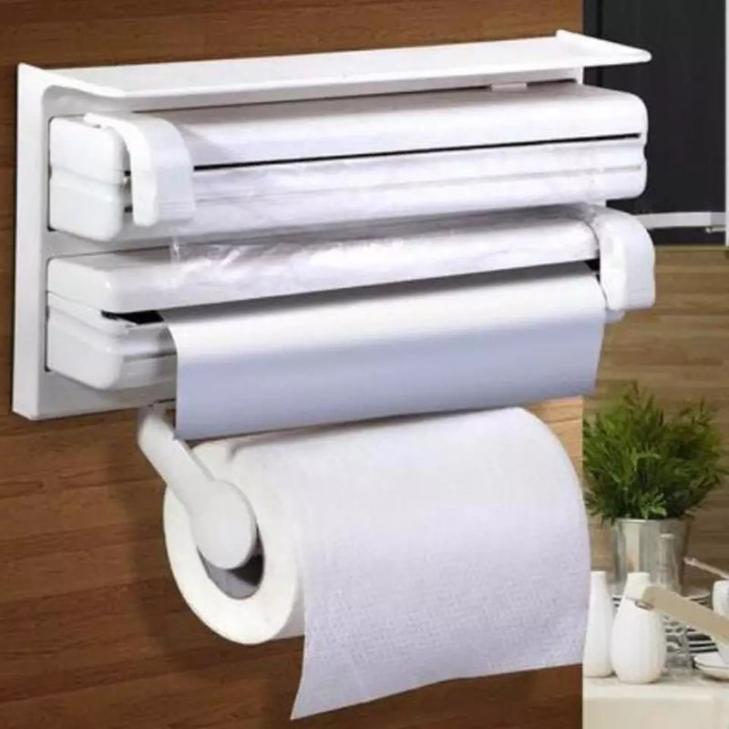 3 in 1 Kitchen Aluminum Film Cutter Paper Towel Holder Wall Mounted Roll Dispenser Cutting Foil Cling Wrap Kitchen Storage Rack