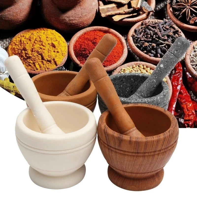 Resin Mortar Pestle Set Garlic Herb Spice Mixing Grinding Crusher Bowl - ShopnHob