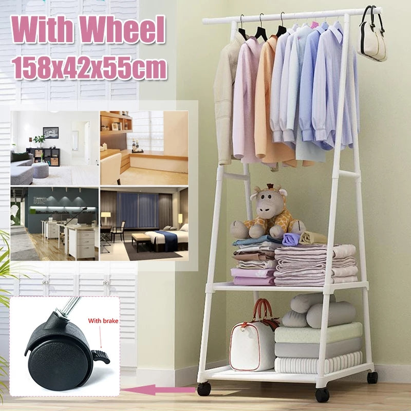 Simple Triangle Coat Rack Stainless Steel Mobile Removable Clothing Hanging Storage Rack Hanger Floor Stand Coat Rack With Wheel