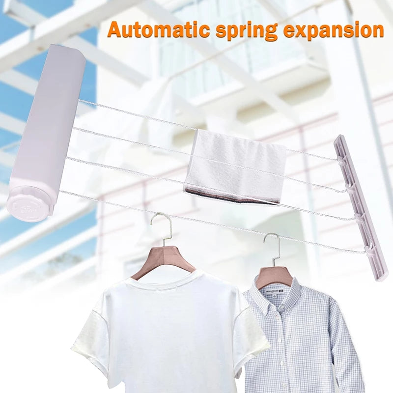 3.2m 4 Lines Wall Mounted Clothes Hanger Dryer Hanger Clothesline Outdoor Laundry Washing Line Drying Rack Cloth Rope Expandible Rope For Tie Coat Towel