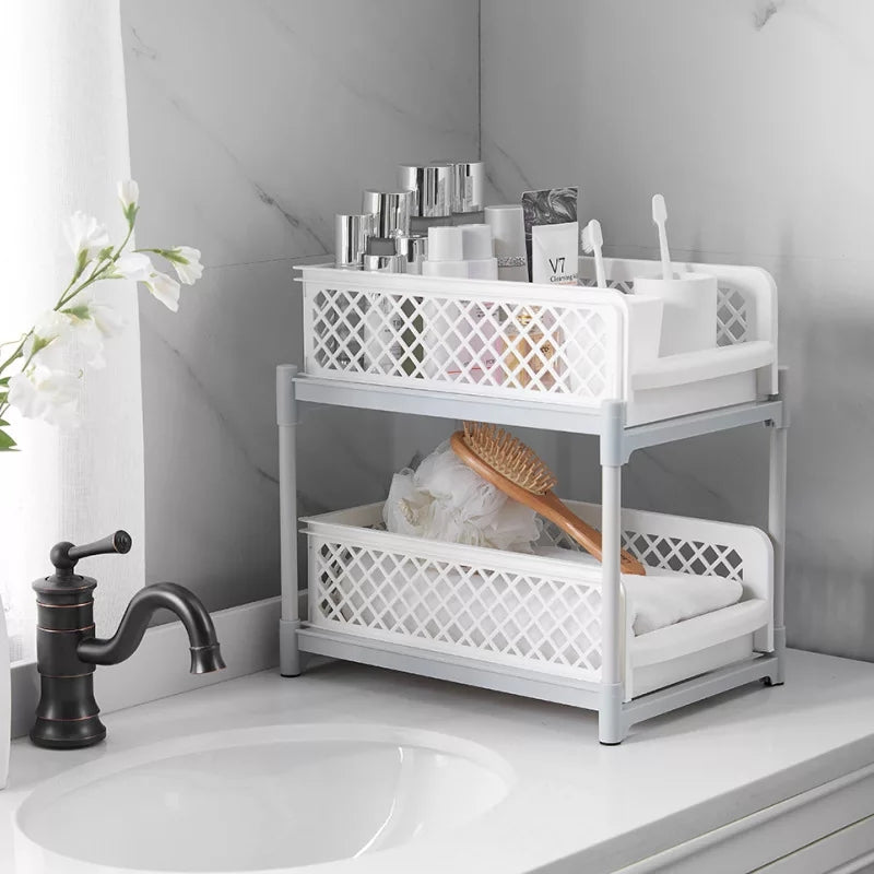 2 Tier Sliding Cabinet Basket Organizer Drawer Mesh Storage Organizer with Pull Out Drawers for Kitchen Countertop Accessories