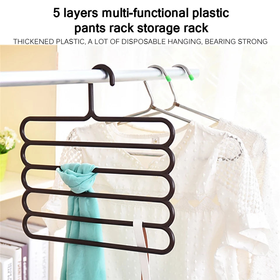 5-Layer Clothes Hanger Drying Racks Multi-Functional Hanger Scarf Racks Anti-Slip Tie Hanger For Tshirts, Shirts, Blouses Etc