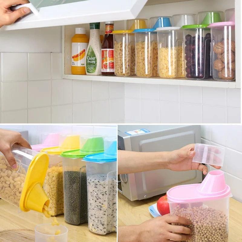 1.9L/2.5L Large Capacity Plastic Dried Food Storage Bins Cereal Containers Dispenser Holder With Graduated Cap