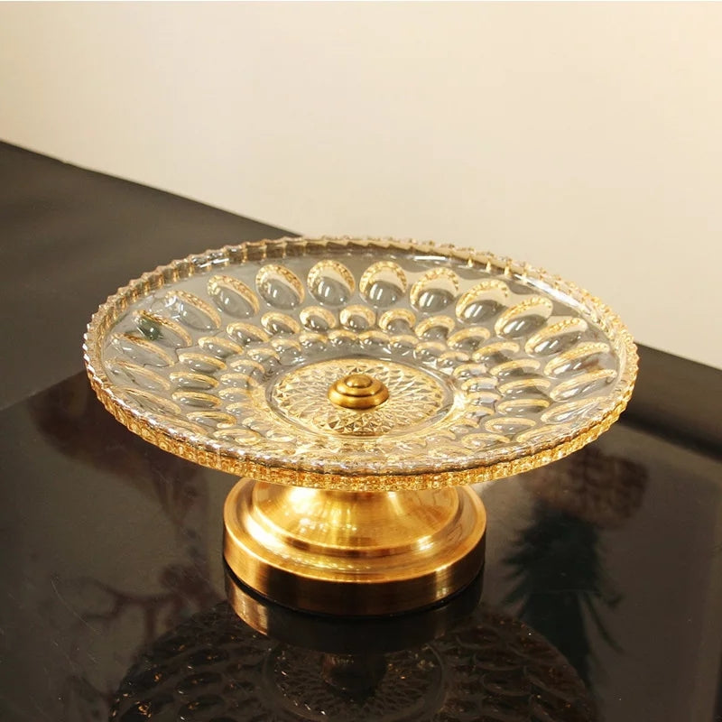 European Style Dining Table Decoration Glass Fruit Dish Tray
