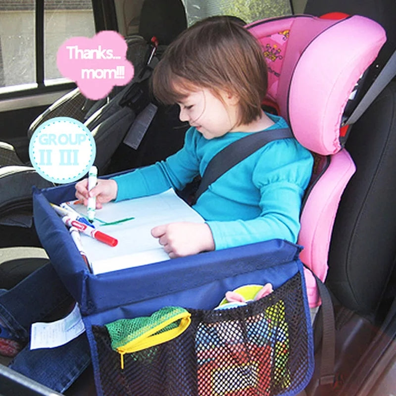 Car Seat Organizer Storage Waterproof Travel Tray Safety Seat Play Table Snacks Toys Cup Holder for Baby Children Kids Stroller