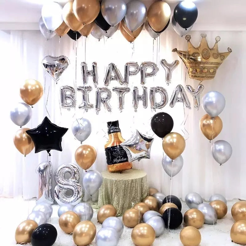 Silver Golden Birthday Balloons Complete Package - ShopnHob