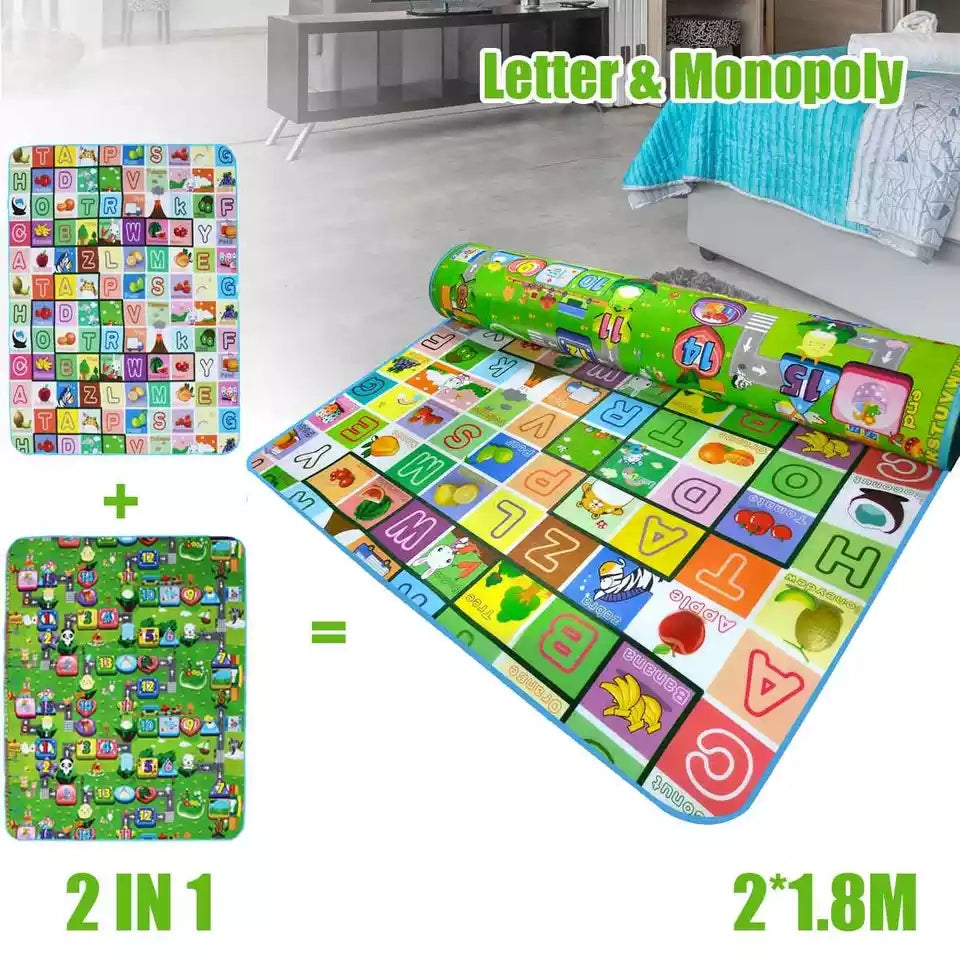 Baby Crawling Mat 200x180x0.5cm Letter Monopoly Double Side Design Climbing Pad Children's Play Mat Carpet for Baby