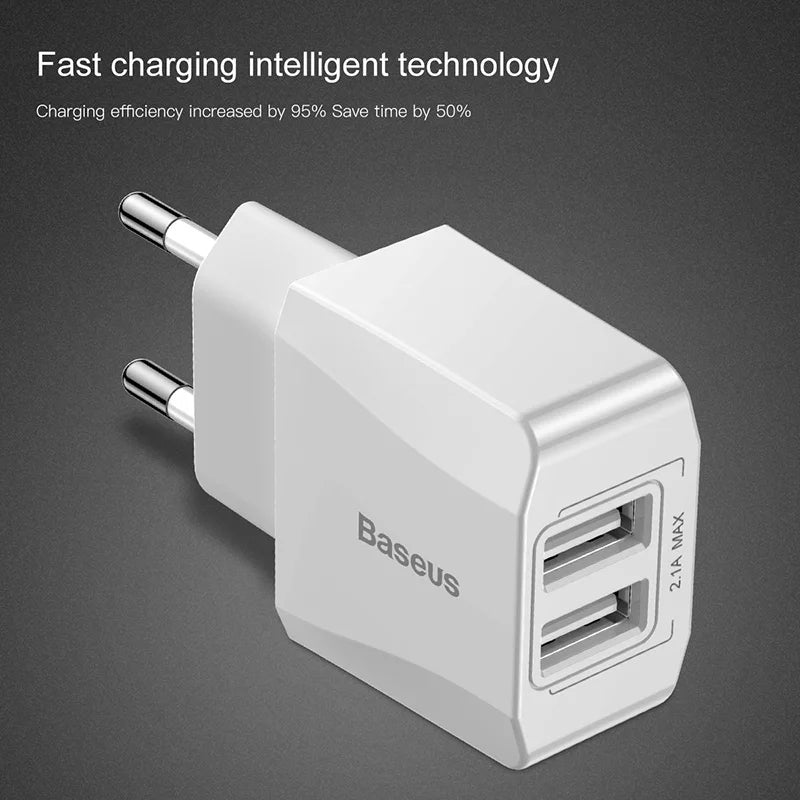 Branded Dual USB Charger EU Plug Quick Charge 2.1A Wall Charger Max Mobile Phone Charging Mini Adapter Travel Charger For iPhone