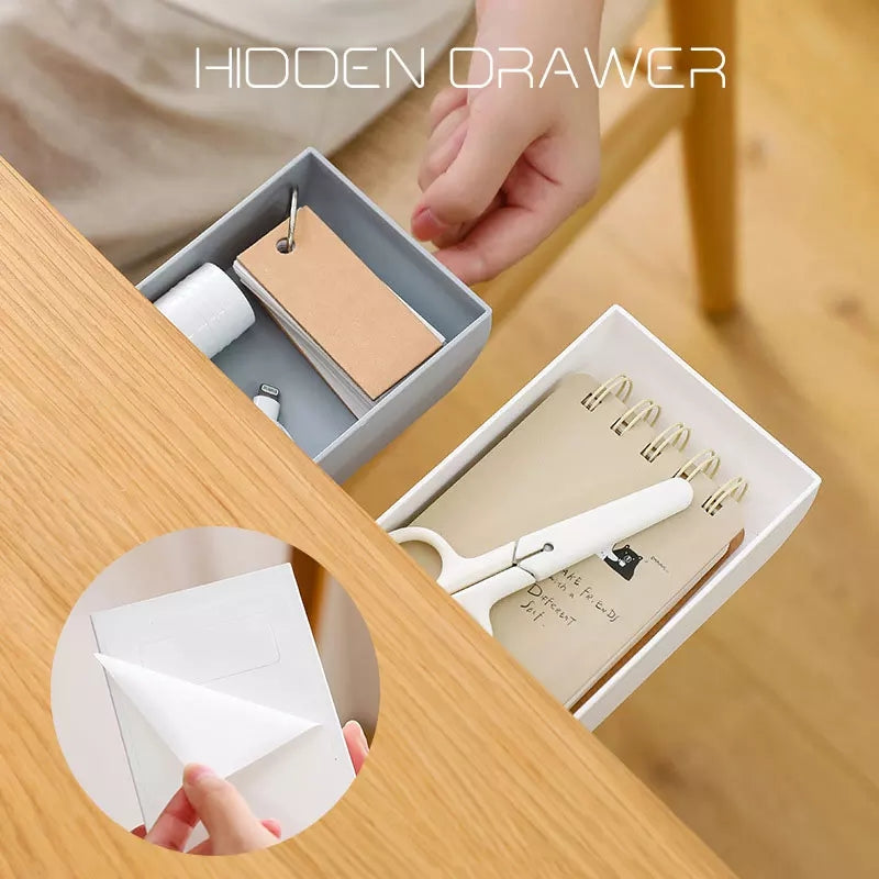Hidden Table Under Paste Plastic Desk Organizer Memo Pen Stationery Storage Box Case Desk Drawer Divider Stationery Sticky Decor