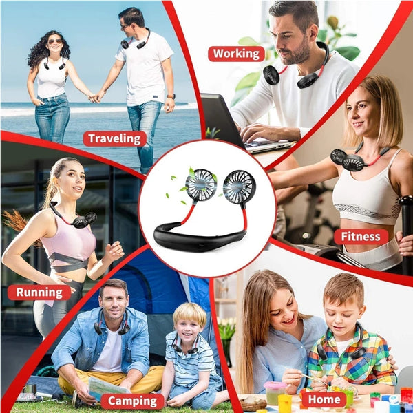Rechargeable USB Wearable Portable Hand Free Neckband Double Fan Personal Neck Fans Household Accessories 3 Speed Adjustable