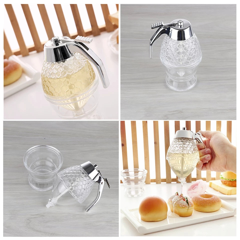200ML Honey Dispenser Jar Container Cup Portable Acrylic Honey Squeeze Storage Pot Juice Bee Drip Bottle Cooking Tool Craft - ShopnHob