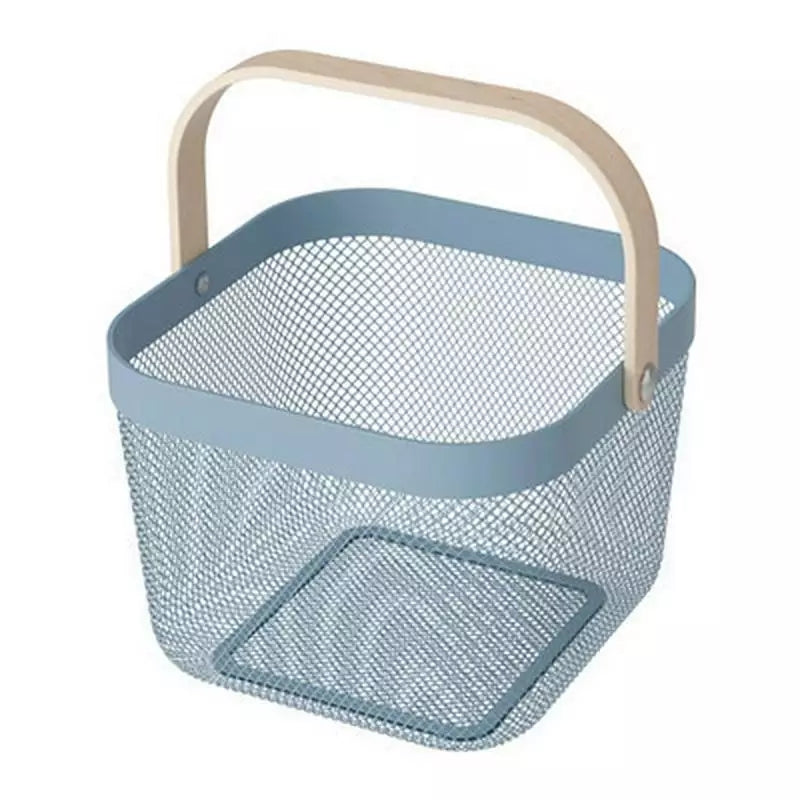 Wooden Handle Metal Grid Storage Basket for Storing Clothes and Fruit Cosmetics Succinct Kitchen Bathroom Home Basket Organizer