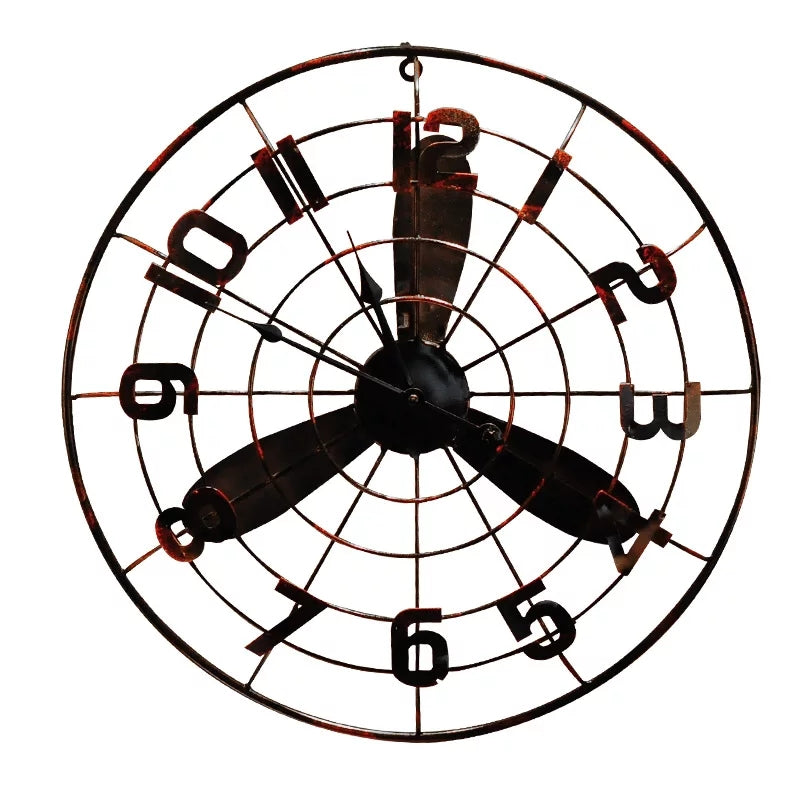 European Round Metallic Retro Fan Wall Clock - ShopnHob
