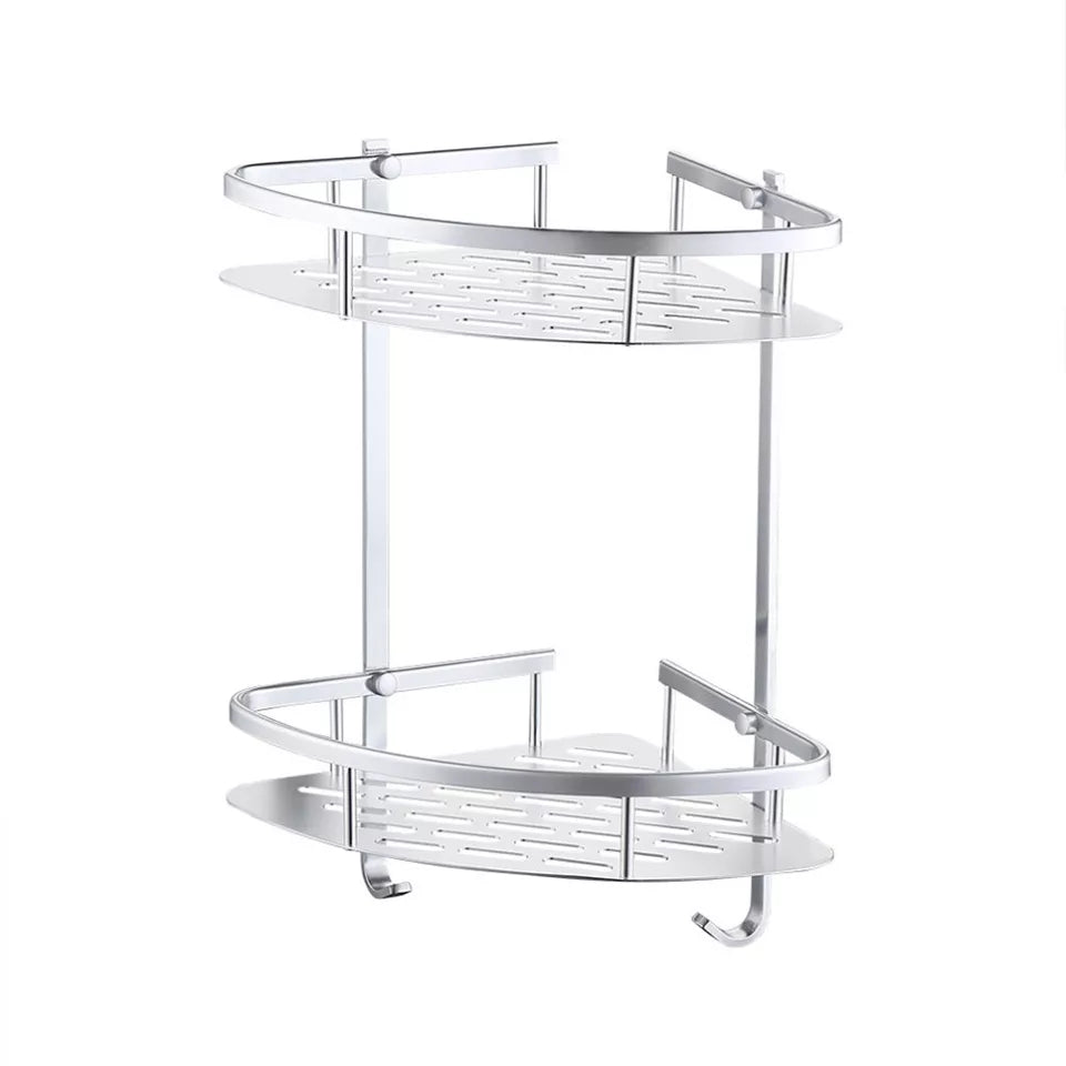 Triangle Shower Corner Bathroom Shelf Storage Basket Holder Aluminum Caddy Rack