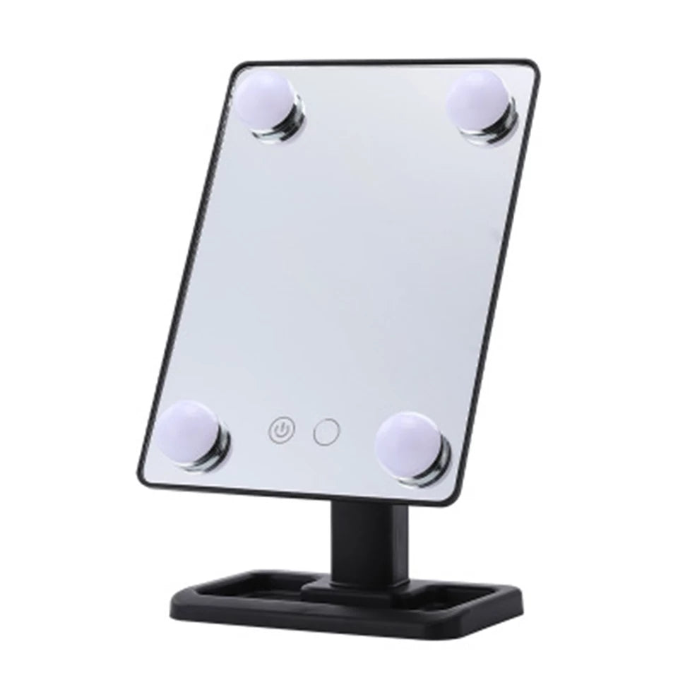 LED Lights Makeup Mirror with 4 Bulbs TouchScreen Adjustable Brightness Cosmetic Mirror MH88