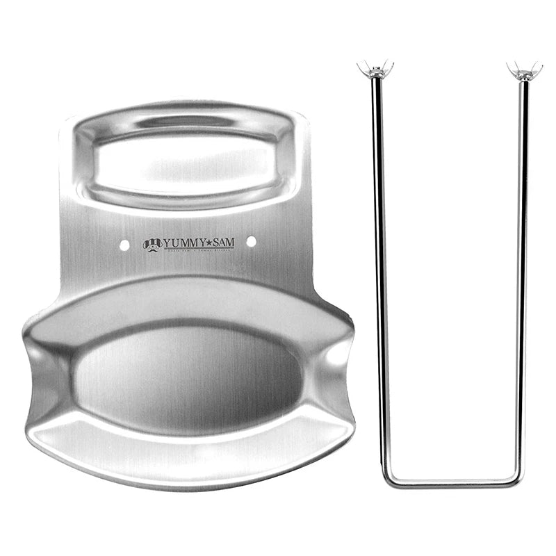Stainless Steel Lid and Spoon Rest Pot Lid Holder Spoon Holder Lid Rest Ladle Stand Pan Cover Kitchen Accessories