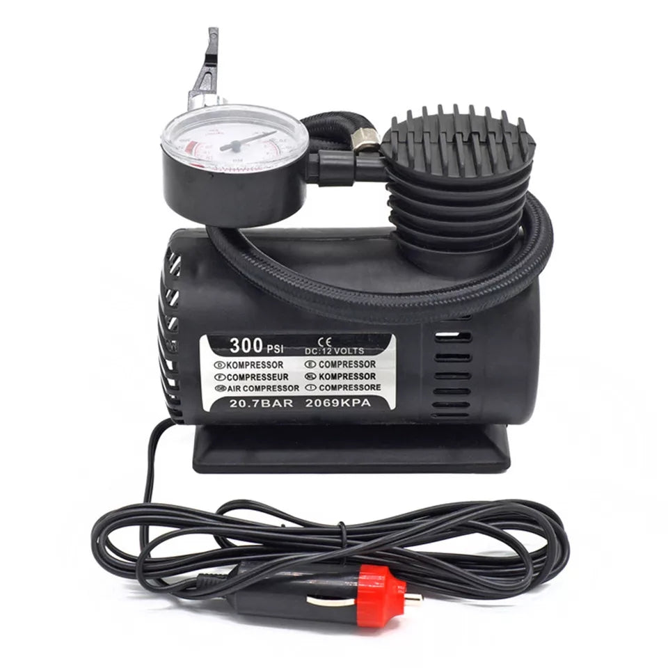 Inflatable DC 12V 300PSI Car Tire Inflator Auto Air Compressor Tire Pump with Pressure Gauge for Car Bicycle Ball Rubber Dinghy