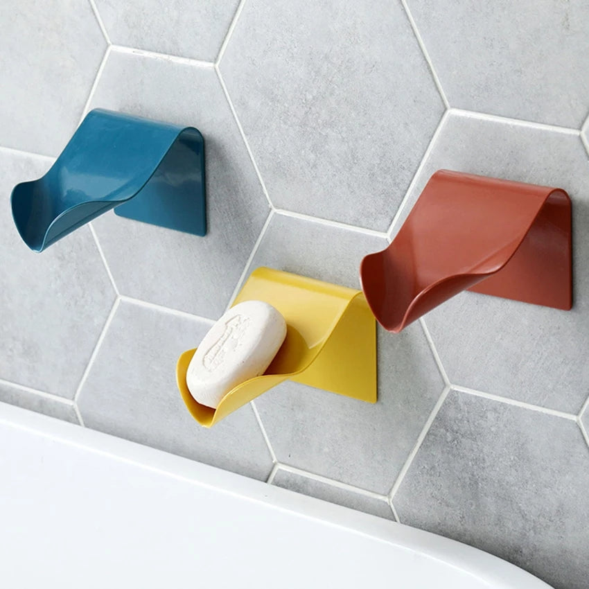 Self Adhesive Soap Dish Saver Holder Countertop Soap Drainer V-shape Soap Sponge Storage Holder for Bathroom Shower Kitchen