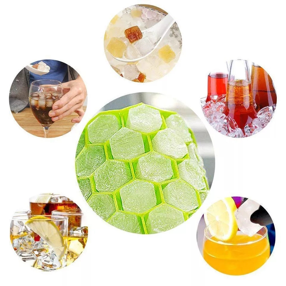 Ice Square Trays Silicone, Ice Mold with Lids 37 Cubes