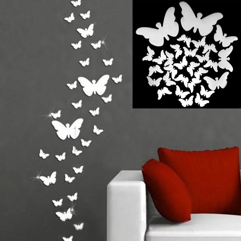24pcs 3D Mirrors Butterfly Wall Stickers Decal Wall - ShopnHob