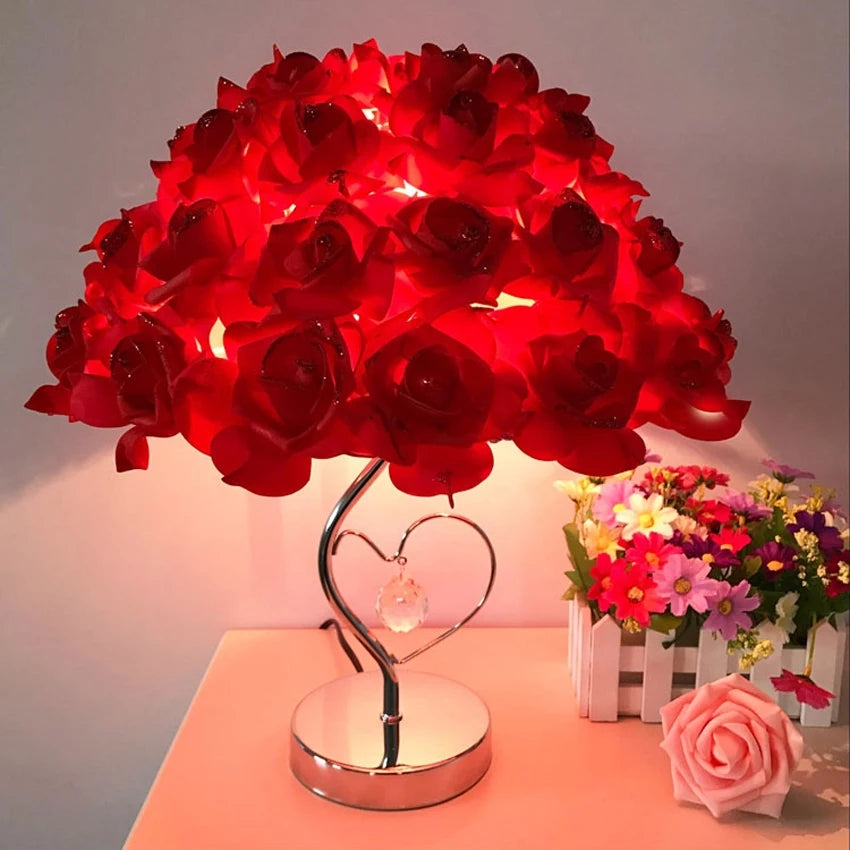 European metal base Polymer soft Roses Table Lamp - ShopnHob (3572685537360)