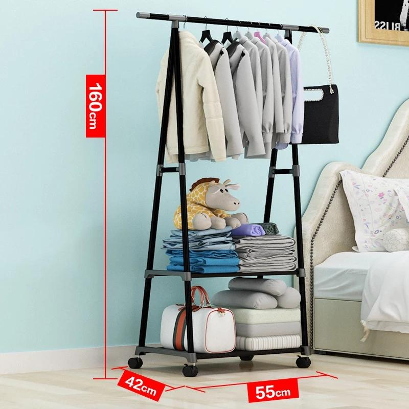 Simple Triangle Coat Rack Stainless Steel Mobile Removable Clothing Hanging Storage Rack Hanger Floor Stand Coat Rack With Wheel - ShopnHob