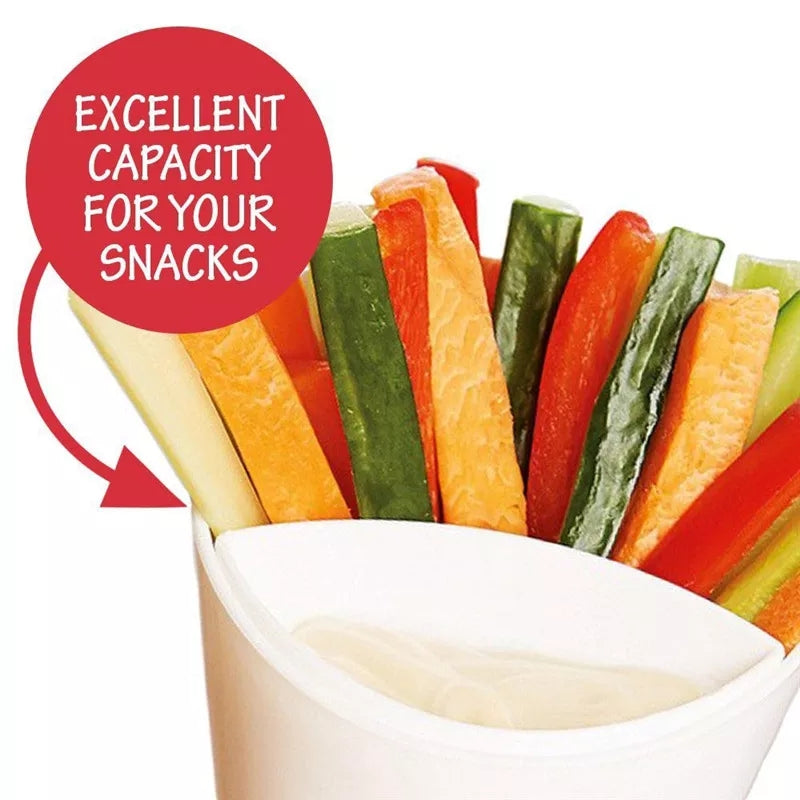 Dig and Dip rench Fries Veggies Cone & Built-in Dipping Cup Potato Chips Snack Tool Tableware dig n dip