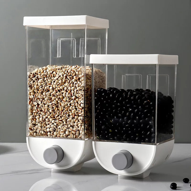 Wall Hanging Cereal Dispenser Kitchen Dry Food Grain Container Beans Rice Storage Bin with Lid