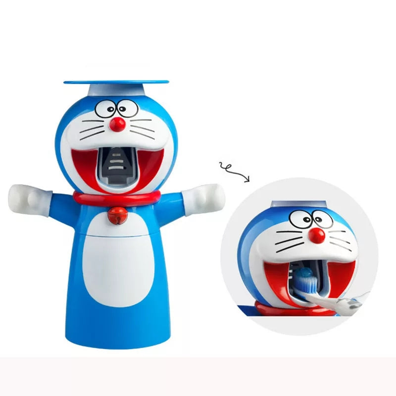 Creative Cartoon Doraemon Automatic Toothpaste Dispenser Squeezer Wall Mount Stand