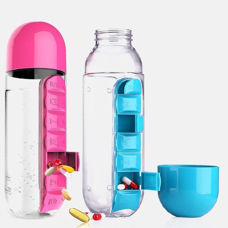 1PC 600ML Weekly Water Bottles With Pill Box Travel Drug Organizer Multifunction Pill Medicine Storage Box Splitters Health Care