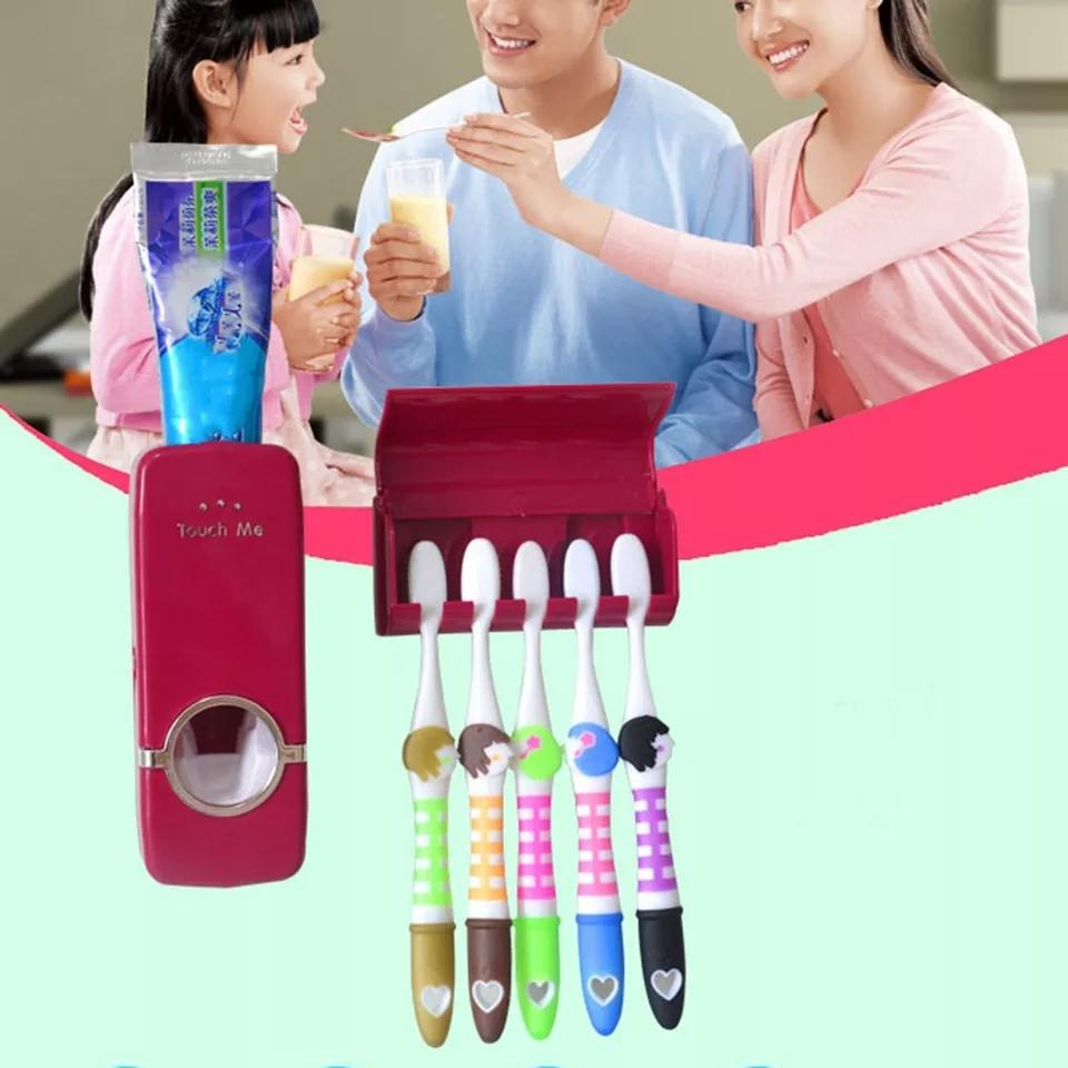 Toothpaste Dispenser 5 Toothbrush Holder Set Wall Mount Stand Toothbrush Family Tools Accessories Bathroom Products - ShopnHob